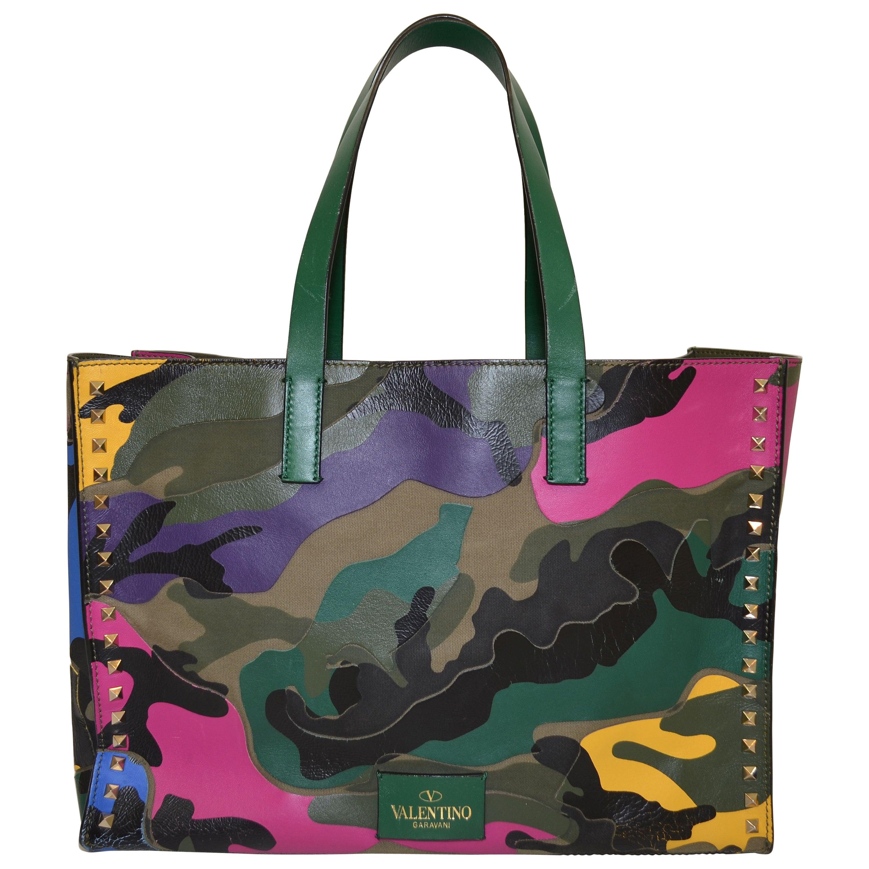 b907b73c692 Valentino Camouflage Multicolor Tote Rockstud Bag at 1stdibs