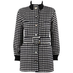 YVES SAINT LAURENT A/W 1992 YSL Black & White Wool Shepherd Check Belted Coat