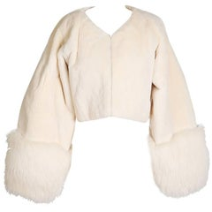 Vintage Cropped Fur Jacket in Cream