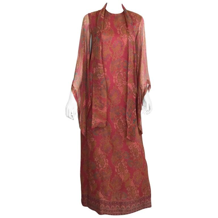 Treacy Lowe Print Chiffon Silk 1970s Indian Caftan
