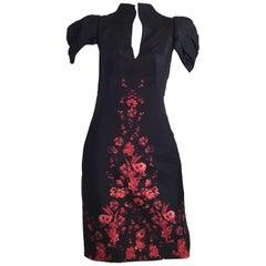 Alexander McQueen Silk Embroidered Knee-Length Wiggle Dress, Pre Fall 2009