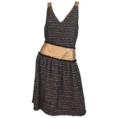 Chanel 2005 A Collection Tweed and Leather Skirt Set