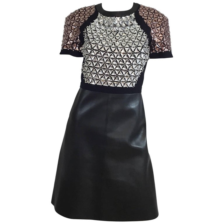 gucci couture embellished leather dress winter 2014