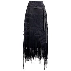 Tom Ford for YSL Suede Skirt with Woven Fringe, Fall 2001