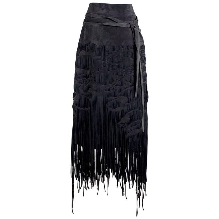 Tom Ford for YSL Suede Skirt with Woven Fringe, Fall 2001 For Sale