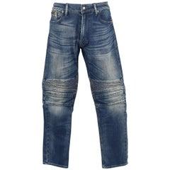 Men's RALPH LAUREN Size 32 Washed Denim Motorcycle Knee Pad Jeans