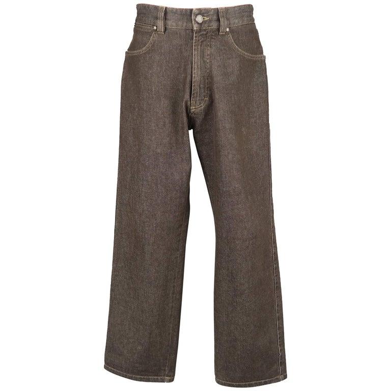 Men's ERMENEGILDO ZEGNA Size 32 Brown Raw Denim Straight Leg Jeans