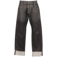 Men's DSQUARED2 Size 32 Black Distressed Wax Coated Selvedge Denim Jeans