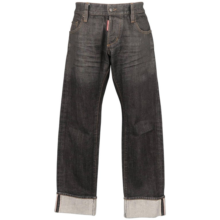 b4f06484 Men's DSQUARED2 Size 32 Black Distressed Wax Coated Selvedge Denim Jeans  For Sale