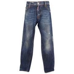 Men's DSQUARED2 Size 32 Indigo Washed Distressed Denim Jeans