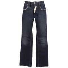 Men's JOHN GALLIANO Size 30 Navy Wash Distressed Denim Back Hoop Jeans