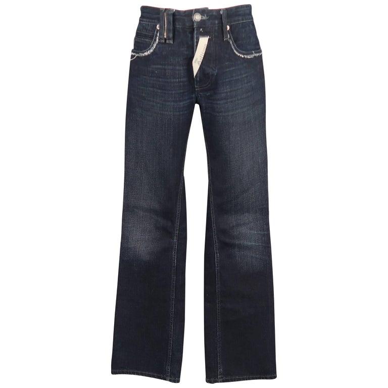 0ee04d13d7f57d Men's JOHN GALLIANO Size 30 Navy Wash Distressed Denim Back Hoop Jeans For  Sale