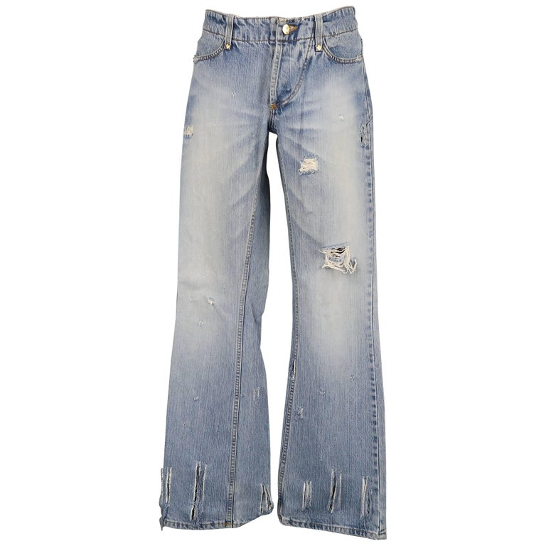 Men's VIVIENNE WESTWOOD ANGLOMANIA Size 32 Light Wash Distressed Denim Jeans