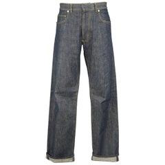 Men's DIOR HOMME 32 Indigo Yellow Contrast Stitch Straight Leg Selvedge Denim Je