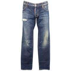 Men's  DSQUARED2 Size 34 Blue Dirty Wash Distressed Denim Jeans