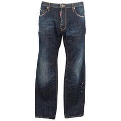Men's DSQUARED2 Size 34 Dark Dirty Wash Denim Distressed Paint Splatter Jeans