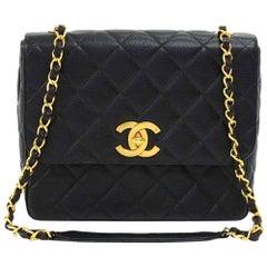 Vintage Chanel Large Black Quilted Caviar  Leather Flap Shoulder Bag