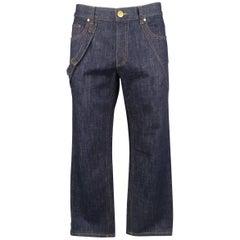 Men's ALEXANDER MCQUEEN Size 36 Indigo Raw Denim Bondage Strap Jeans