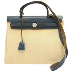 Hermes Herbag PM 2 in 1 Canvas Blue Leather Shoulder Bag