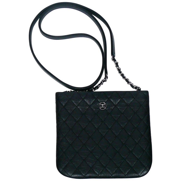 Chanel Quilted Black Leather Employee Uniform Crossbody Bag For