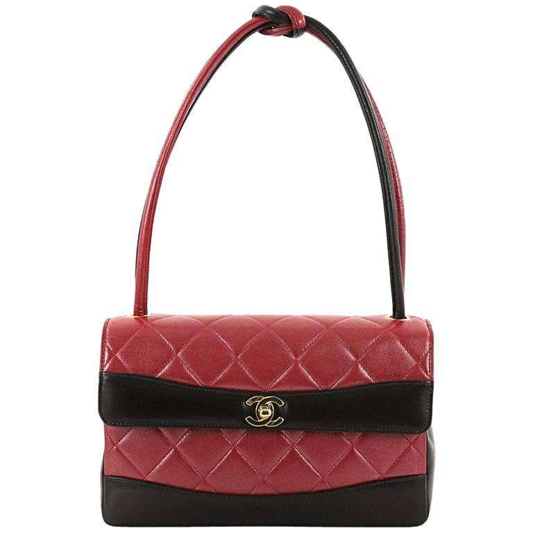 Chanel Vintage Two Tone Knot Handle Flap Bag Quilted Lambskin Medium