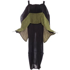 Issey Miyake Black Pleated Dress With Olive Green Panel At Bodice, Circa 1990s