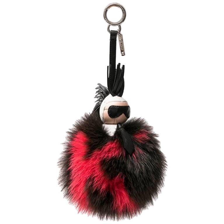 FENDI 'Karlito' Keychain or Bag Charm in Mink Fur