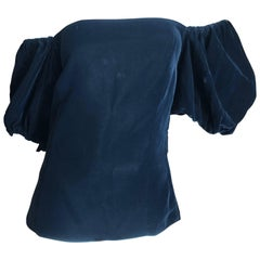 Yves Saint Laurent Rive Gauche Vintage Off the Shoulder Black Velvet Top