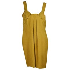 Mustard Yellow Oscar de la Renta Pleated Dress