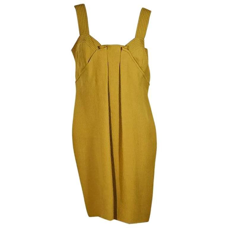 Mustard Yellow Oscar de la Renta Pleated Dress