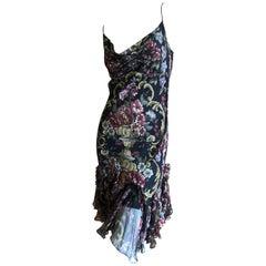 John Galliano Vintage Bias Cut Needlepoint Pattern Silk Dress