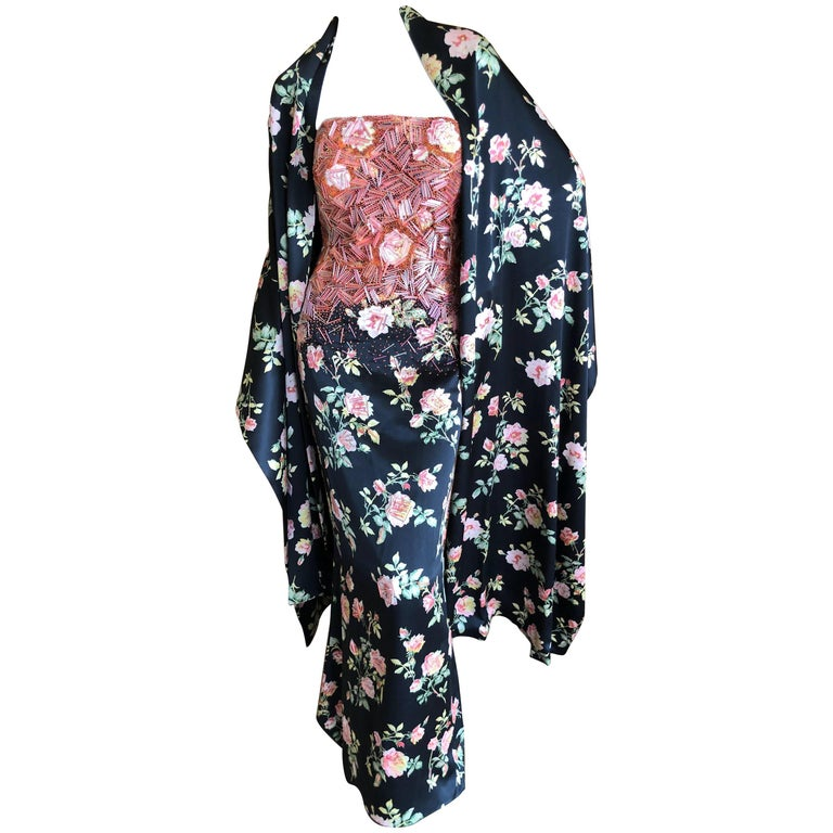 Badgley Mischka VIntage Beaded Silk Floral Ballgown with Wide Matching Shawl  For Sale