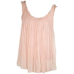 Pink Gucci Pleated Silk Tank Top