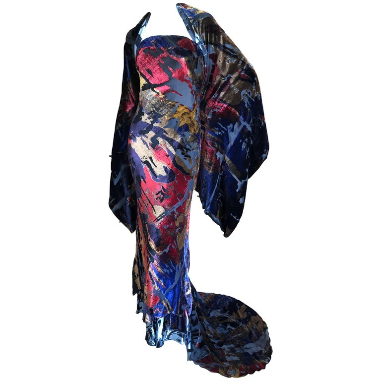 Christian Lacroix Devore Velvet Vintage Evening Dress with Train and Shawl  For Sale