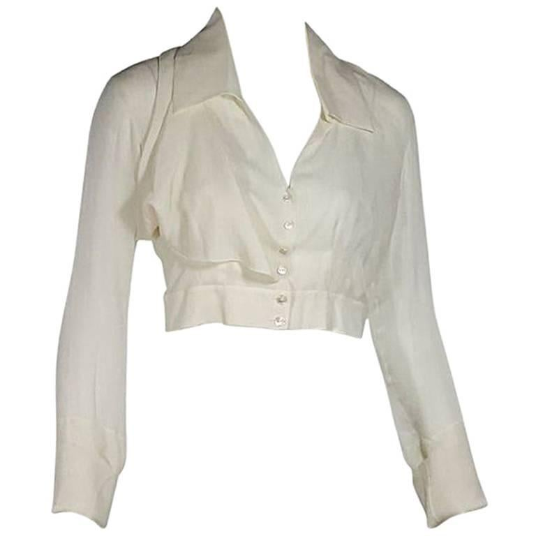 Ivory Chanel Silk Cropped Blouse For Sale