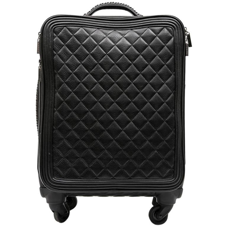 Chanel Rolling Suitcase In Black Quilted Grained Leather And Metal Chains