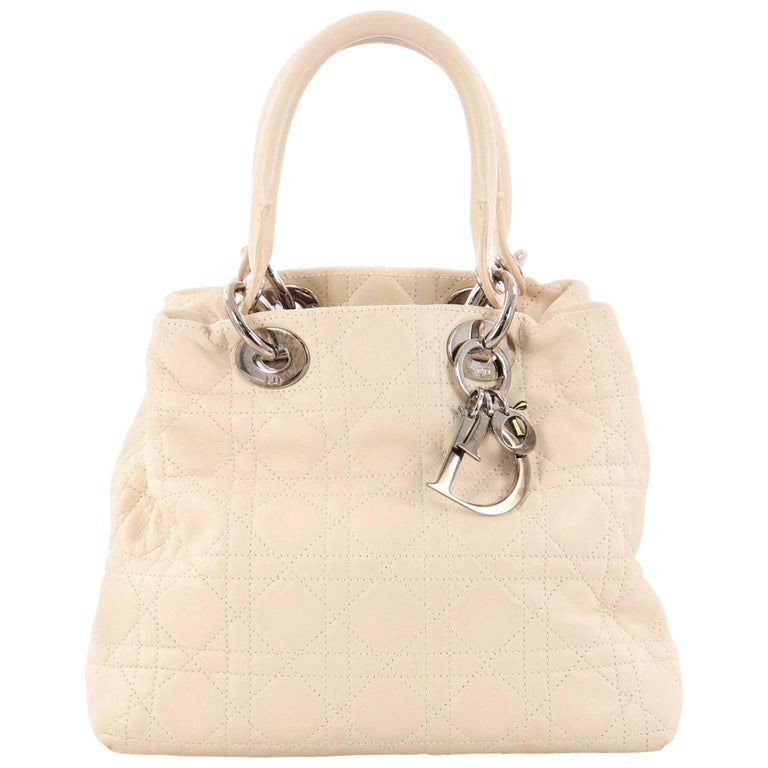 d2c4e4a07d54 Christian Dior Lady Dior Soft Tote Cannage Quilt Lambskin Medium For Sale