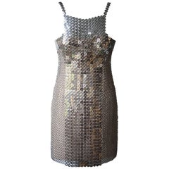 Versace Iconic Chain-Mail and Silk-Satin Mini Dress