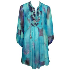 Bluemarine Blue Print Silk Chiffon Tunic Top with Beading