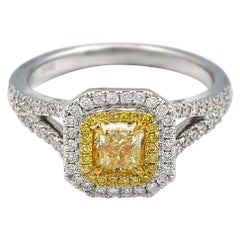0.61 Carat Radiant Natural Diamond Ring with Yellow and White Pave Diamonds