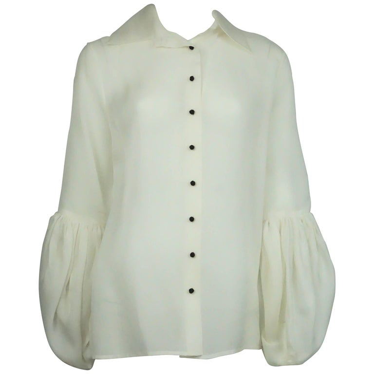 Monique Lhuillier Ivory Silk Organza Top