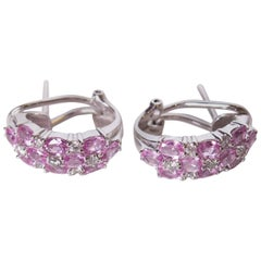 Vintage Pink Sapphire and Diamond Earrings on White Gold