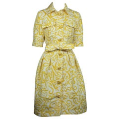 Oscar De La Renta Ivory and Yellow Print Silk Dress with Belt
