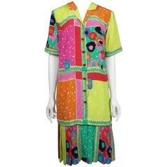 Louis Feraud Multi Silk Print Shift Dress