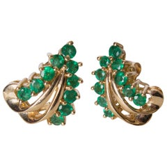 Emerald and Gold Earrings for Pierced Ears