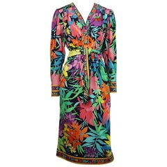 Leonard Multi Floral Print Three-Quarter Sleeve Dress With Sash