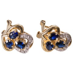 Sapphire and Diamond and Gold Earrings for Pierced Ears