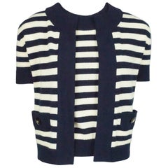 Chanel Navy And Ivory Cashmere S / S Sweater Set