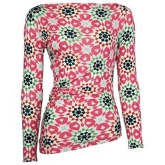 Etro Pink Multi Rayon Long Sleeve Top