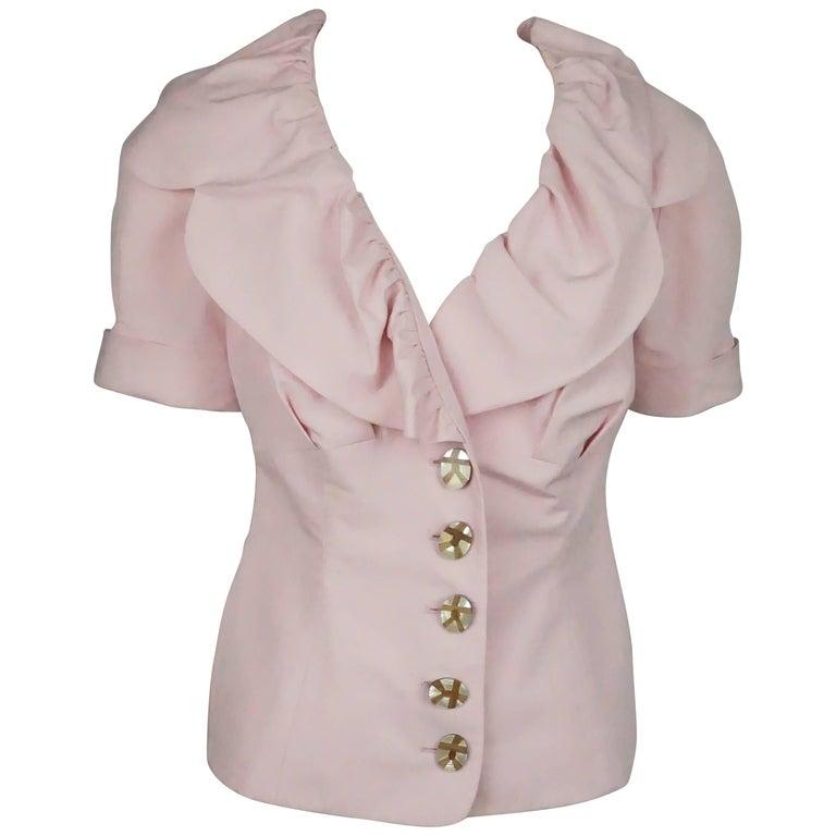 Salvatore Ferragamo Pink Cotton and Linen Blend Top S / S